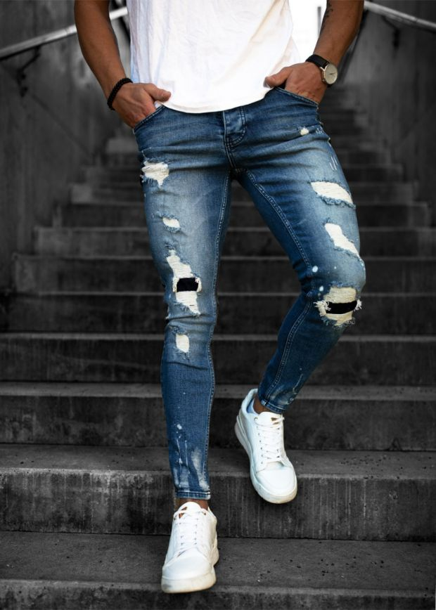 LGND Heavy Ripped & Repaired Jeans Dark Blue