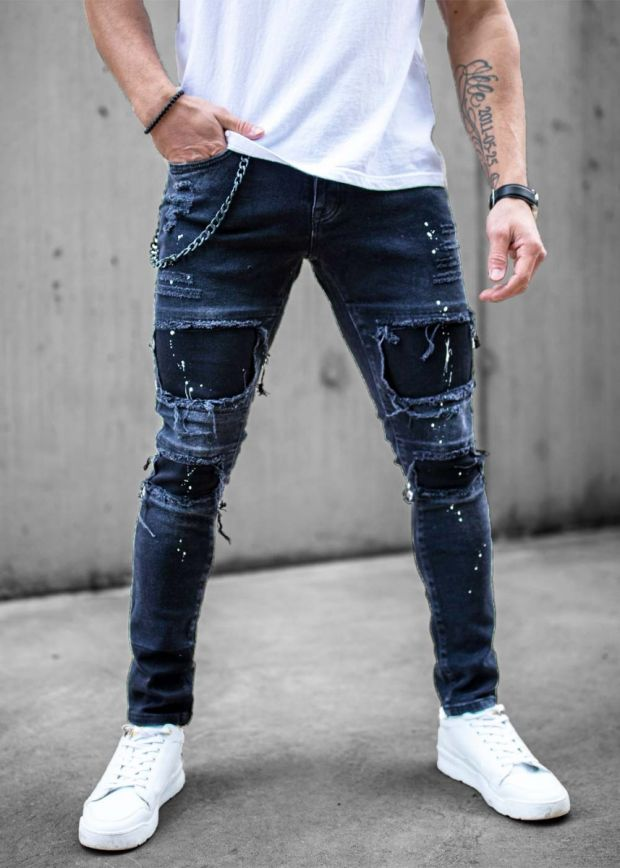 Ripped & Repaired Chained Jeans Jet Black
