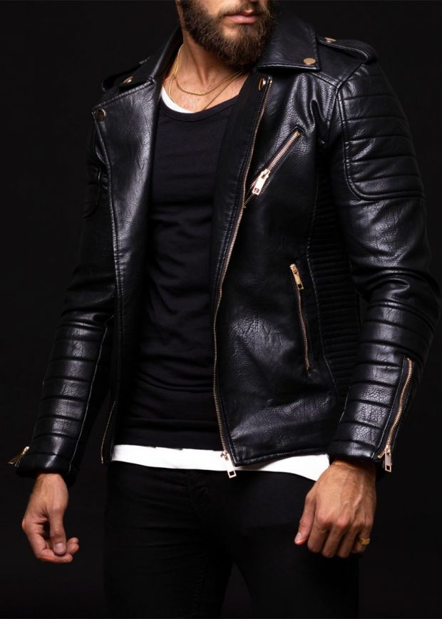 Devon Leather Biker Jacket Black/Gold