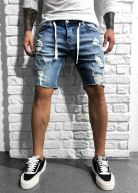 Vanquish Distressed Denim Shorts Blue