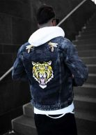 Tiger Distressed Denim Jacket Black