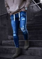 Heavy Knee Ripped Track Jeans Blue