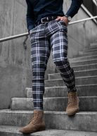 Luca Checked Slim Stretch Chino Black