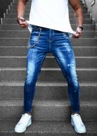 Enzo Chained Jeans Blue Wash