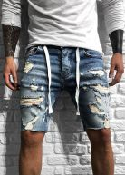 Vantage Distressed Denim Shorts Blue