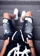 Vantage Distressed Denim Shorts Black