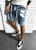 Nevada Ripped & Repaired Shorts Blue