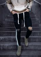 Heavy Knee Ripped Track Jeans Jet Black