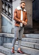 Heavy Aviator Shearling Jacket Camel