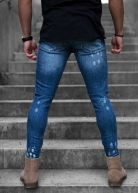 Diamond Distressed Jeans Blue