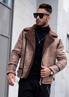 Heavy Shearling Biker Leather Jacket Camel
