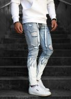 Flame Heavy Distressed Jeans Light Blue