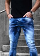 Heavy Washed Jeans Blue